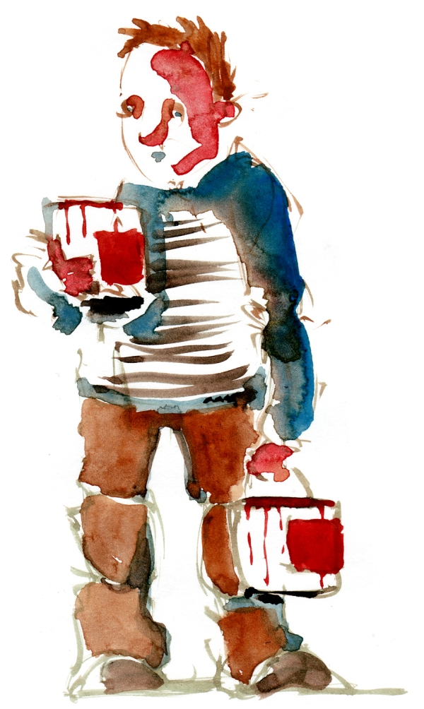 Man with cans of red paint watercolor by frits ahlefeldt