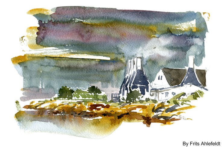 Svaneke houses Bornholm watercolor by frits ahlefeldt