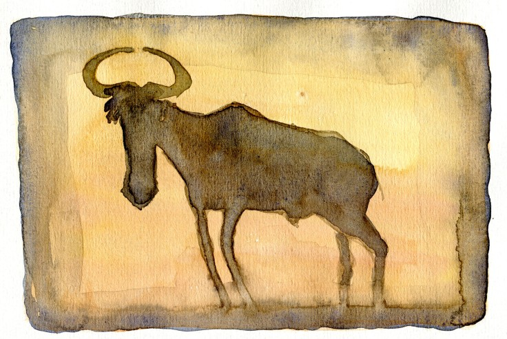 Gnu Watercolour by Frits Ahlefeldt