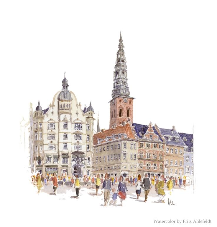Stroget streetscape copenhagen Copenhagen Watercolor by Frits Ahlefeldt