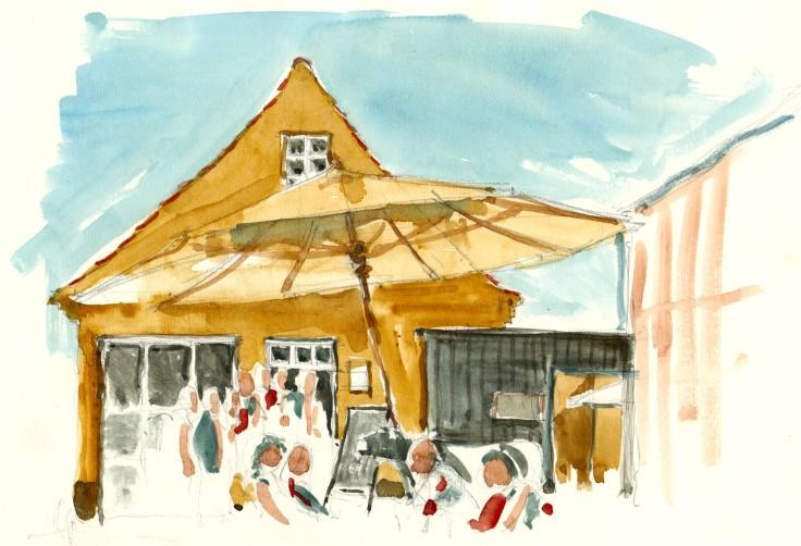 Svaneke house Bornholm watercolor by frits ahlefeldt