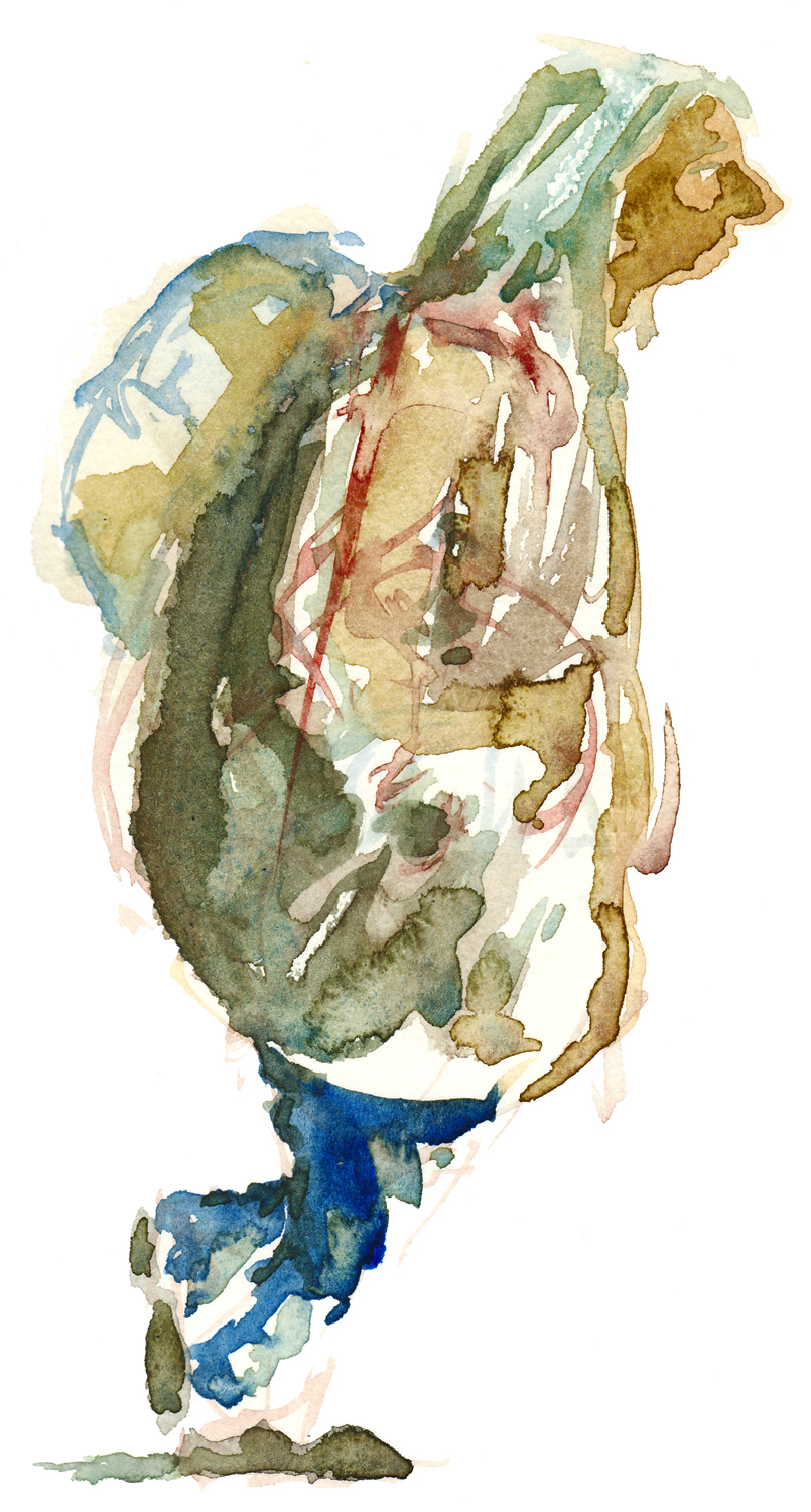 Old woman walking with backpack watercolor by frits ahlefeldt