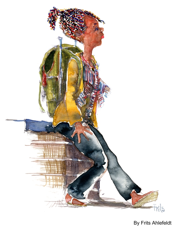 Rasta woman with backpack watercolor by frits ahlefeldt