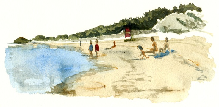 Beach with bathers Bornholm watercolor by frits ahlefeldt