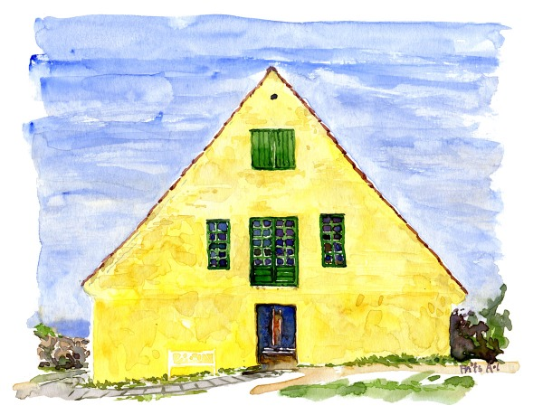 "Watercolor of ""vagten"" a large yellow building on Christiansø, Ertholmene. Painting by Frits Ahlefeldt"