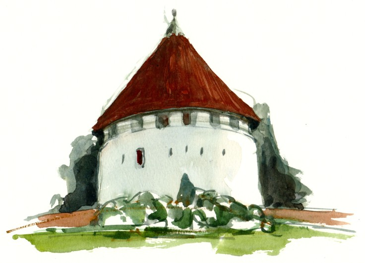 Roenne Bornholm watercolor by frits ahlefeldt