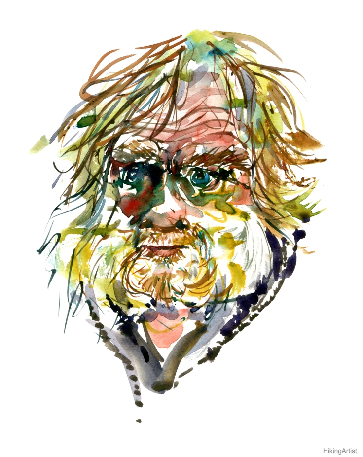 portrait Blond man looking tired watercolor by frits ahlefeldt