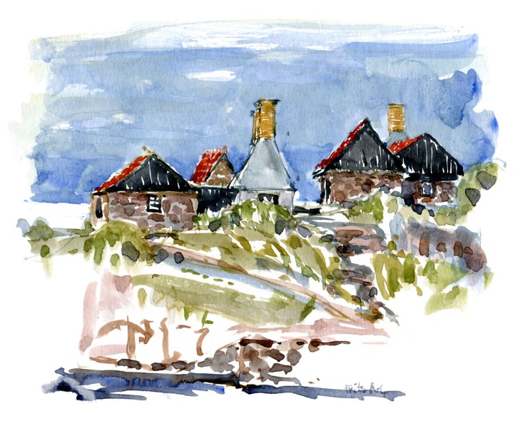 smokehouses on Frederiksø. ( røgerier) Ertholmene, Denmark. watercolor by Frits Ahlefeldt