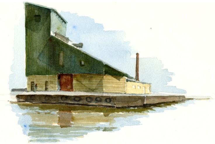 Nexo harbor Bornholm watercolor by frits ahlefeldt