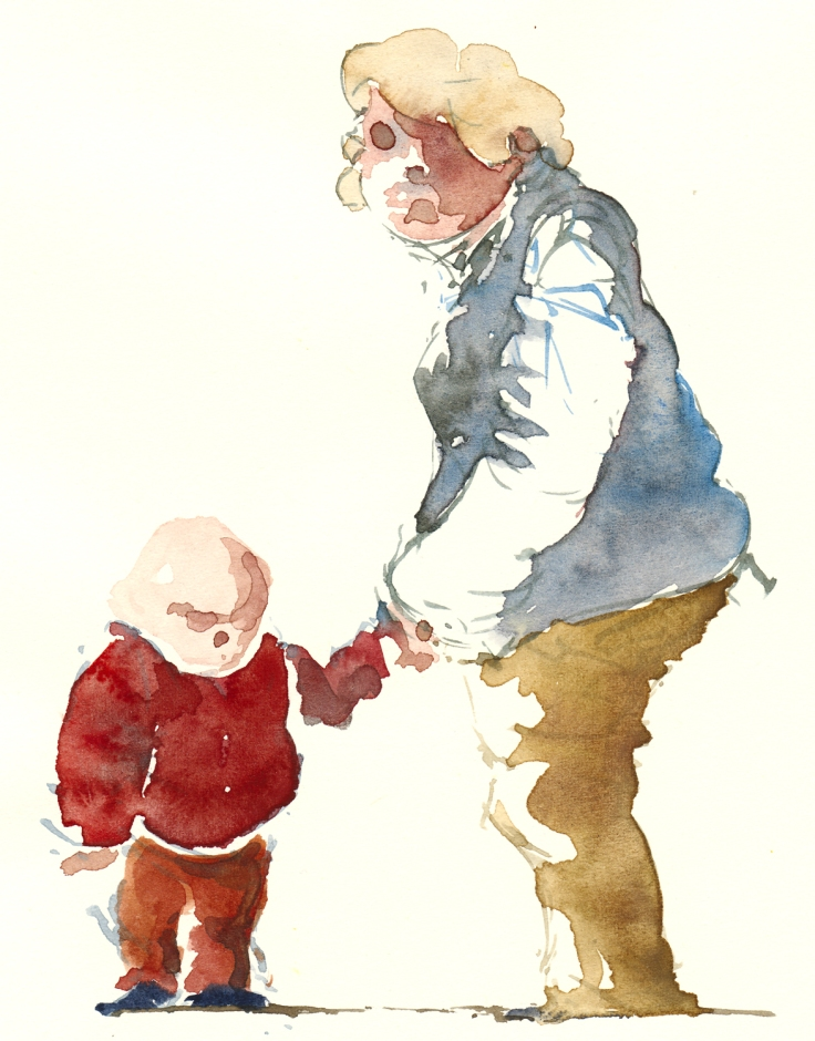 Grandmother with kid watercolor by frits ahlefeldt