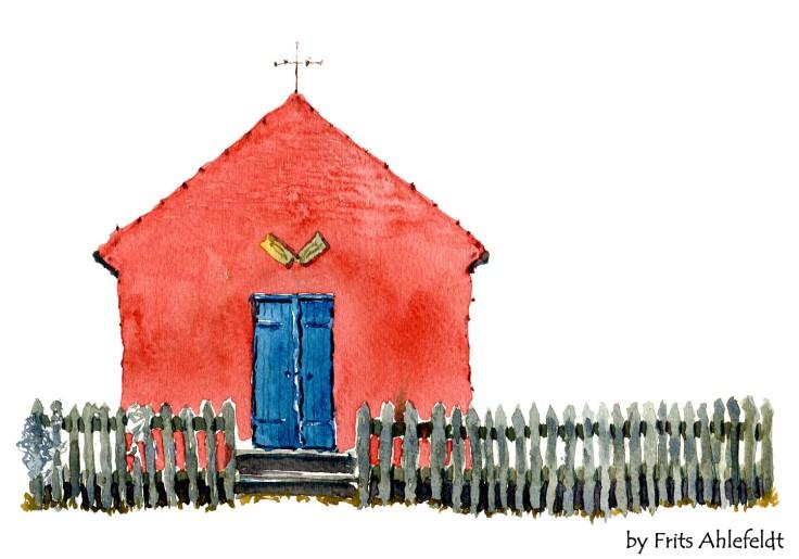 House in Snogebaek Bornholm watercolor by frits ahlefeldt