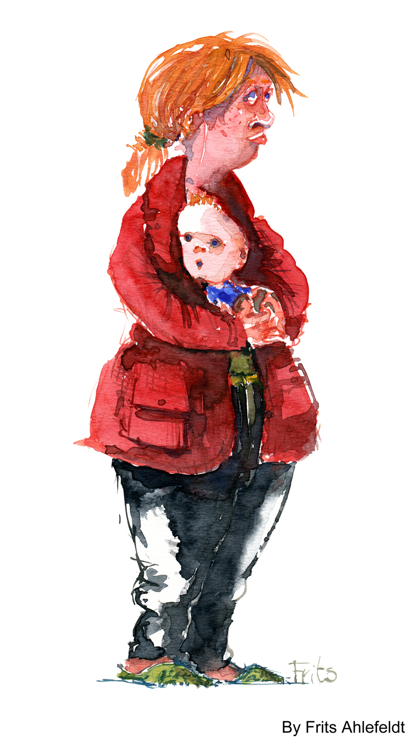 Woman with kid in red jacket watercolor by frits ahlefeldt
