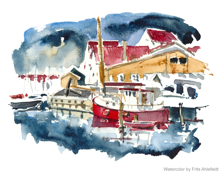 Boats in harbor Copenhagen Watercolor by Frits Ahlefeldt