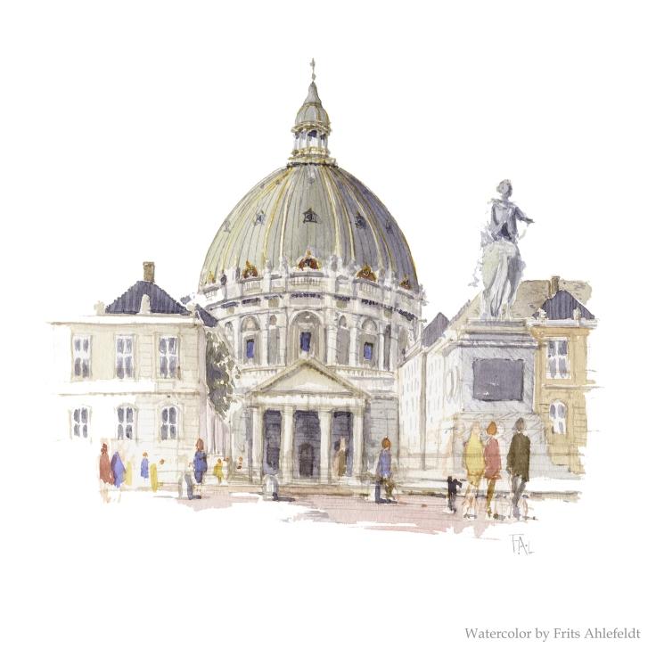 Marble Church Copenhagen Watercolor by Frits Ahlefeldt