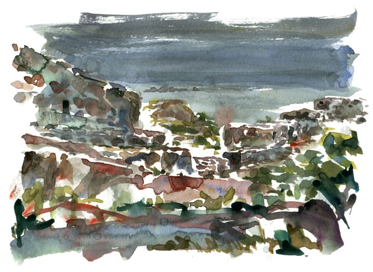 Watercolor painting of defence walls on Christiansoe, Ertholmene Naval fortress. Denmark. Painting by Frits ahlefeldt