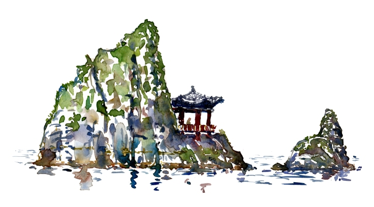 asian pavilion on island Watercolor by Frits Ahlefeldt