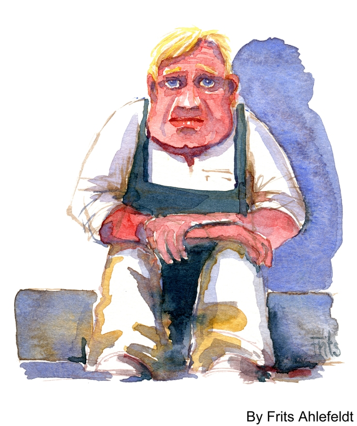 man having a break watercolor by frits ahlefeldt
