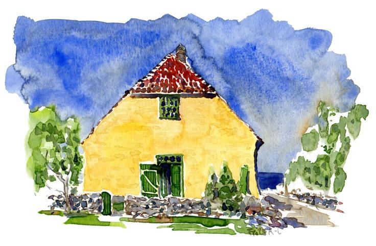 The school on Christiansø. Ertholmene. Painting by Frits Ahlefeldt