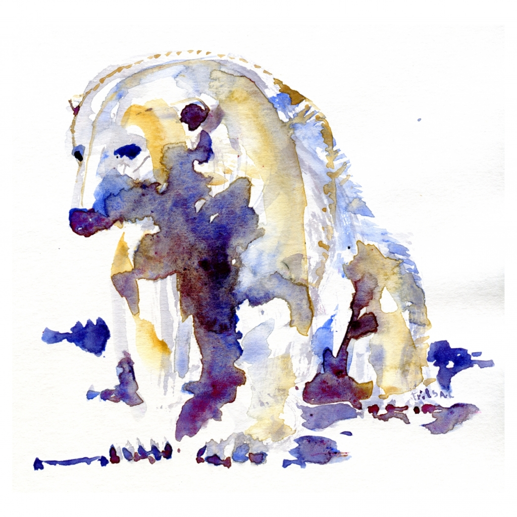 Polar bear sitting watercolor by Frits Ahlefeldt