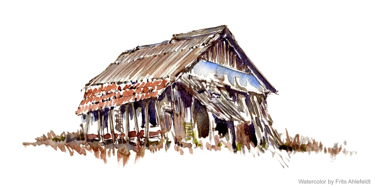 old barn Watercolor by Frits Ahlefeldt