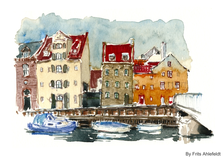 Christianshavn with boats Watercolor by Frits Ahlefeldt