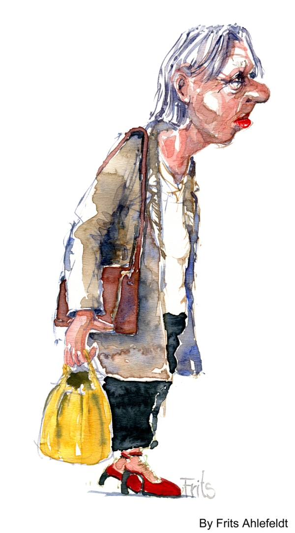 old lady walking watercolor-by-frits-ahlefeldt