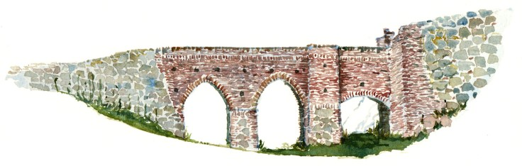 Hammershus bridge Bornholm watercolor by frits ahlefeldt