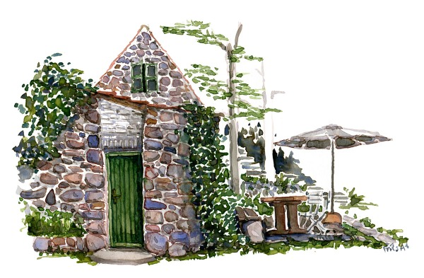 Small granite hut on Ertholmene islands. Traditional build by locals. Watercolor painting by Frits Ahlefeldt