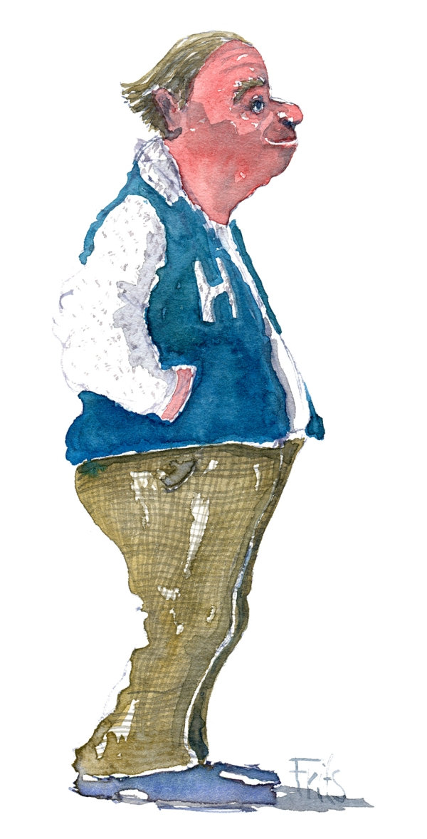 man with hands in his jacket watercolor by frits ahlefeldt
