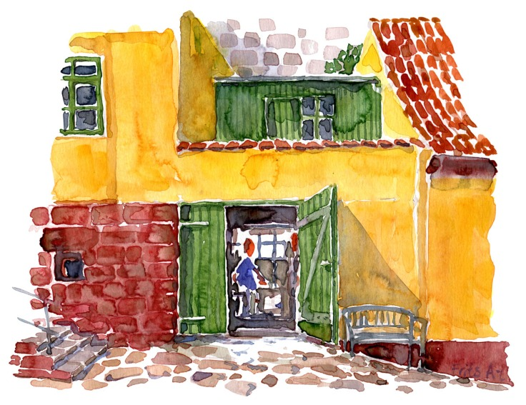 Watercolor christiansø, green doors by the grocery store. Painting by Frits Ahlefeldt