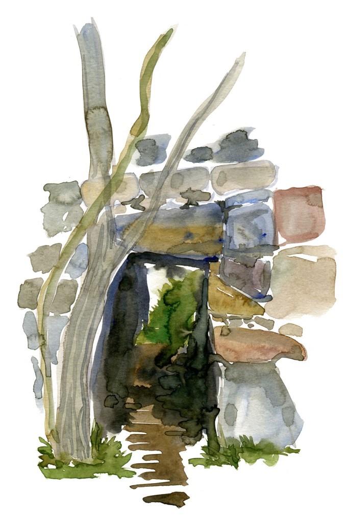 Watercolor of the tunnel under the wall on christiansø, Ertholmene naval fortresss. Denmark. Painting by Frits Ahlefeldt