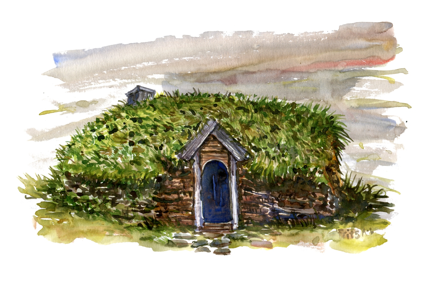 Watercolor of traditional eco house