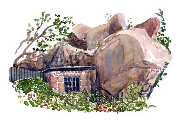 Ertholmene - Christiansø, Detail rocks and small granite hut build together. Watercolor by Frits Ahlefeldt