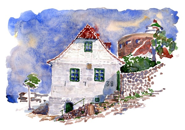 Ertholmene watercolor by Frits Ahlefeldt