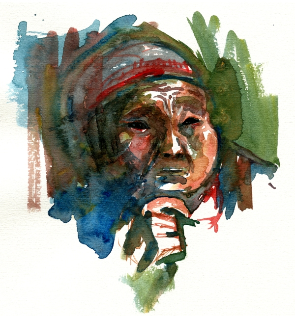 Woman sketch watercolor by frits ahlefeldt