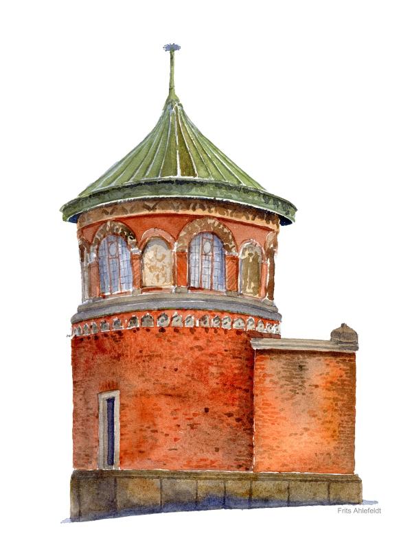 Watercolor of a classic brick pavilion Copenhagen Watercolor by Frits Ahlefeldt