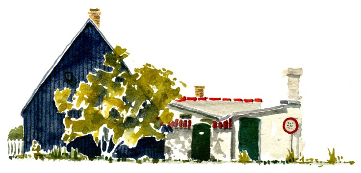 Sandvig house Bornholm watercolor by frits ahlefeldt