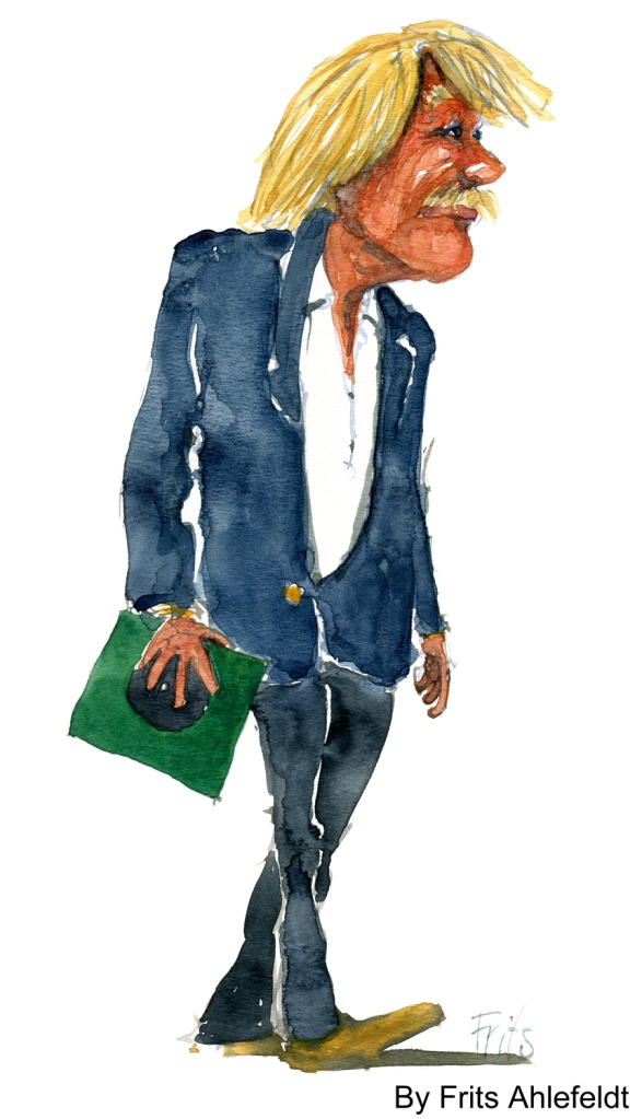 man walking with record watercolor by frits ahlefeldt