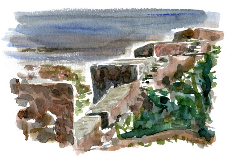 Watercolor of defence walls on Christiansoe, Ertholmene. Naval fortress. Painting by Frits Ahlefeldt
