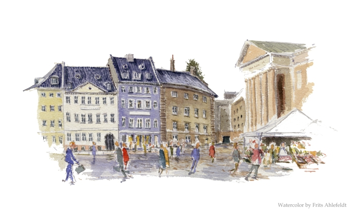 Watercolor of old city square Copenhagen Watercolor by Frits Ahlefeldt