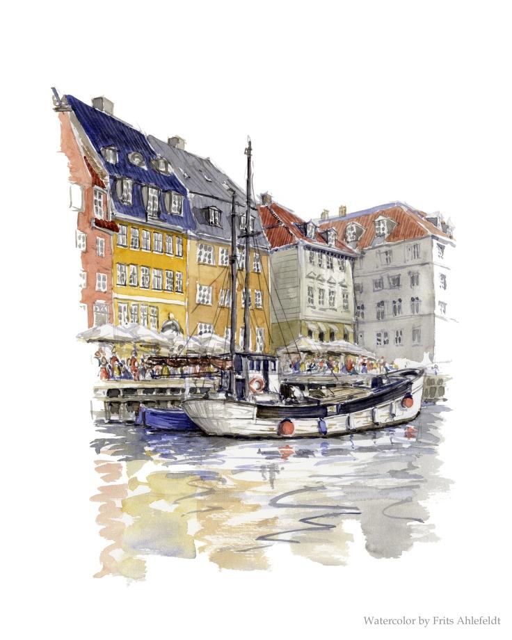 Nyhavn ( newhaven) watercolor Copenhagen