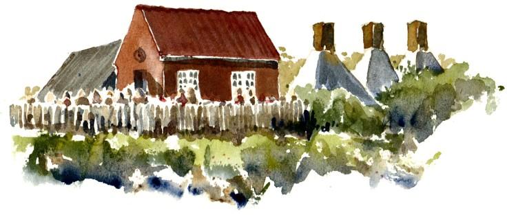 Snogebæk Bornholm watercolor by frits ahlefeldt