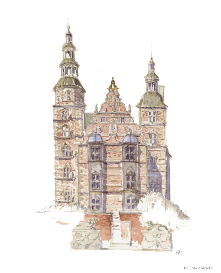 Watercolor of the Rosenborg Castle Copenhagen Watercolor by Frits Ahlefeldt