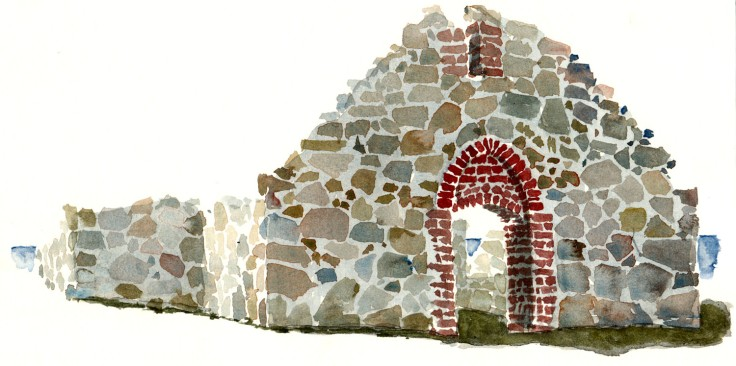 Salomon Chapel Bornholm watercolor by frits ahlefeldt