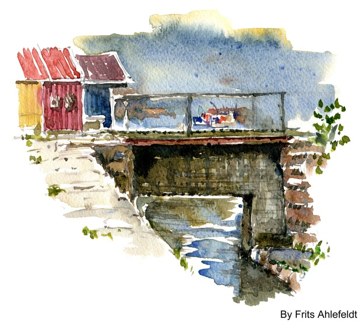 Bridge over stream Bornholm watercolor by frits ahlefeldt