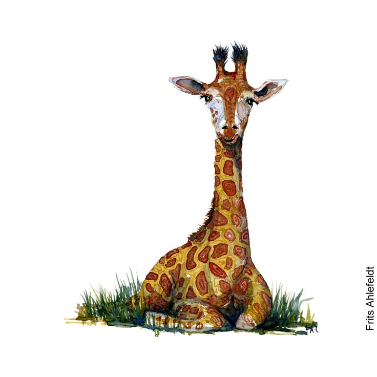 One watercolor of giraffe