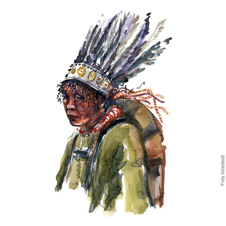 Watercolor of hiker with feather headwear character sketch. Nature hiker portrait watercolour painting by Frits Ahlefeldt