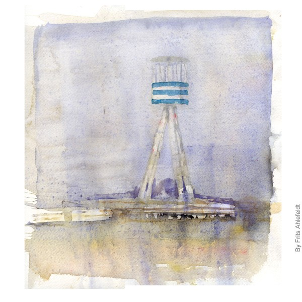 Beach tower at bellevue beach north of Copenhagen, Denmark. Watercolor by Frits Ahlefeldt