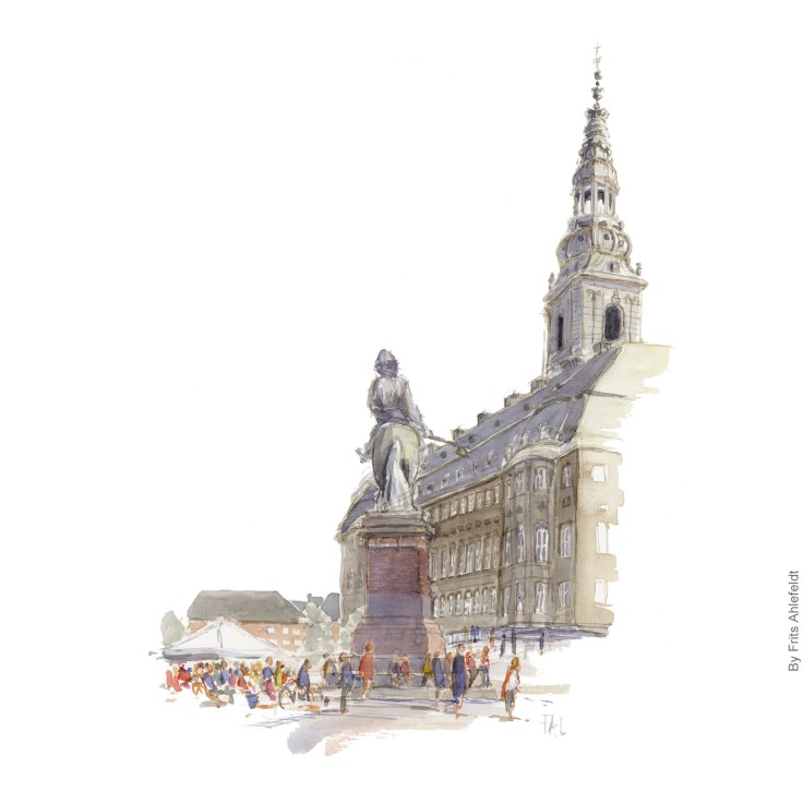 Watercolor painting of Christiansborg. Danish parliament, Denmark. Art by Frits Ahlefeldt