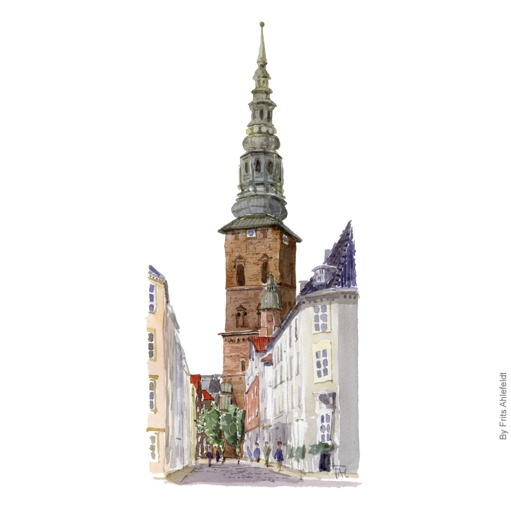 Watercolor painting of the Nicloai Church, Copenhagen. Artwork By Frits Ahlefeldt